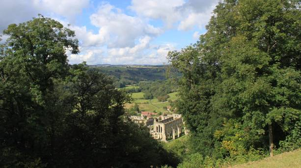 Looking down onto Rievaulx Abbey set in the beautiful North York Moors National Park