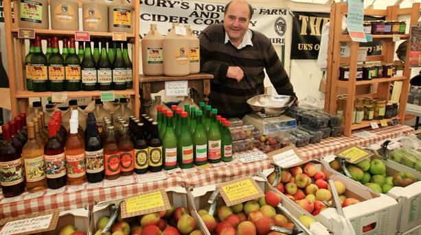 A seller at the Ludlow Food Festival in Shropshire
