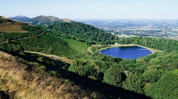View out from the top of the Malvern Hills over the reservoir
