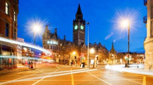 Panoramic image of Manchester Town Hall at night