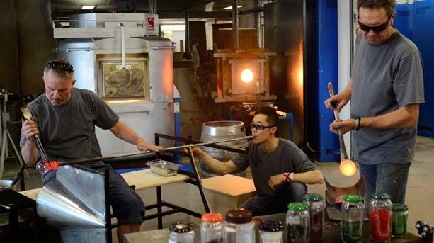 Glass blowing at the National Glass Centre