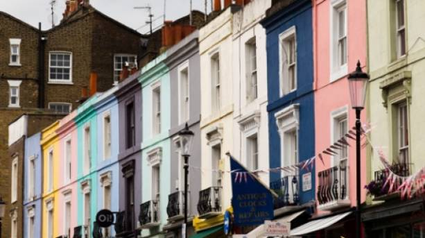 Colourful flats in Notting Hill, London, England