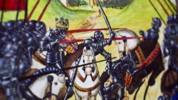 The Battle of Tewkesbury rages