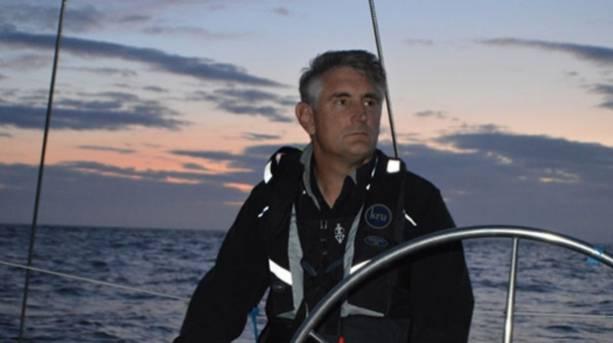 Skipper Andy Dobson Atlas Sailing in Morecambe Bay Lancashire