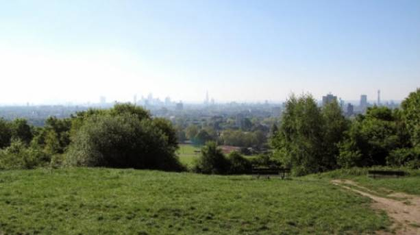 The view from Parliament Hill on Hampstead Heath looking back towards Central London.