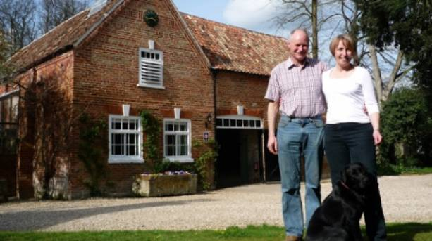 Owners Paul and Flora outside Brackenborough Hall Coach House, Lincolnshire