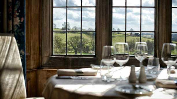 Restaurant with a Peak District view at Callow Hall