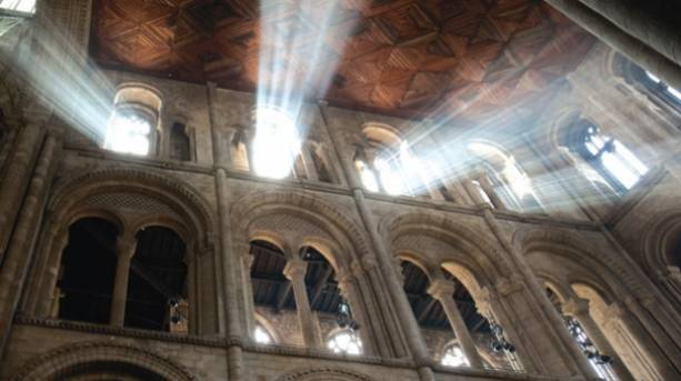 Light shining from the windows of Peterborough Cathedral