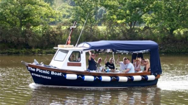 Picnic boat cruise on River Dart