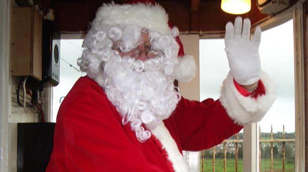 Santa driving the tram at Seaton Tramway
