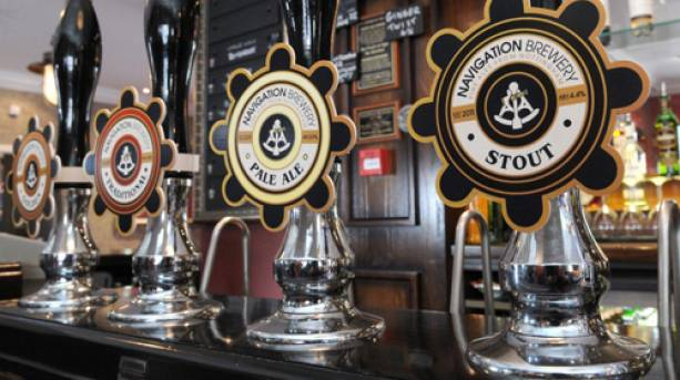 Beer taps at the Trent Navigation Pub in Nottingham