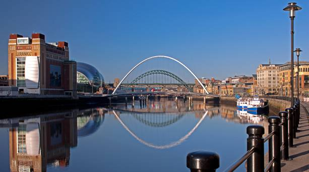 Newcastle Gateshead Quayside at dawn