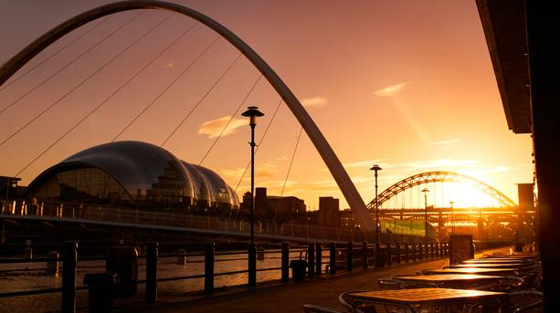 Newcastle Quayside at sunset