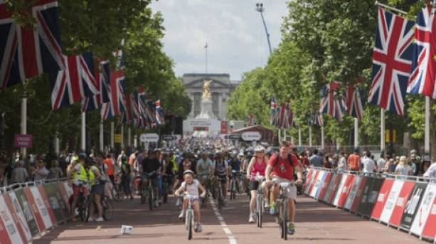 Cyclists taking part in RideLondon