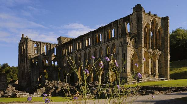 Rievaulx Abbey looking northwest from the museum garden