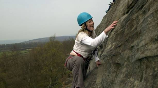 Rock climbing in the Peak District
