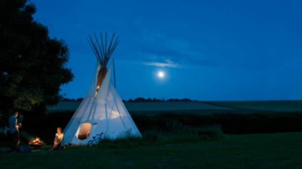 Teepee glamping at Walletts Court, Kent