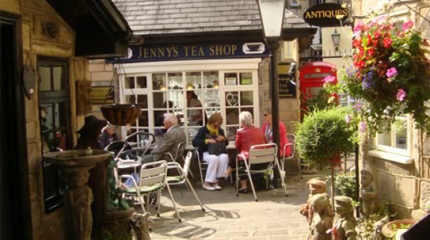 People enjoying tea outside Jenny's Tea Shop in Montpellier Quarter, Harrogate