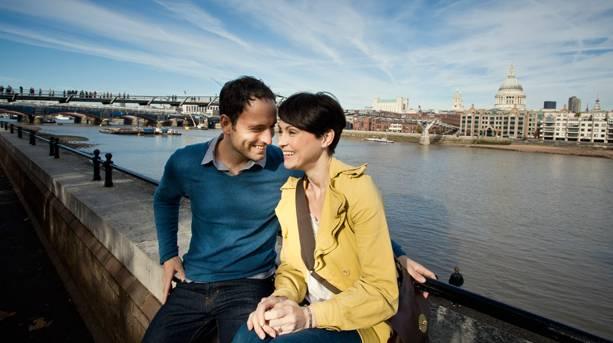 A couple on London's Southbank