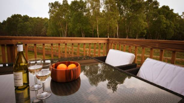 A bottle of wine and two glasses on a table outside a forest cabin in Sherwood Forest