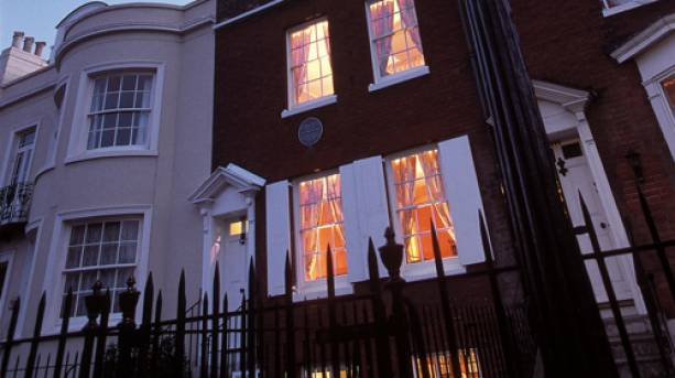 The outside of Charles Dickens Birthplace Museum in Portsmouth