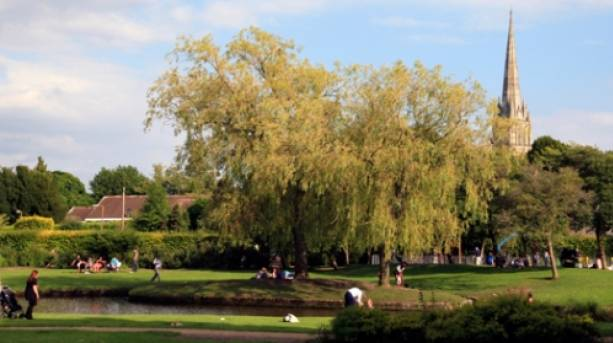 People in a park in Salisbury, Wiltshire