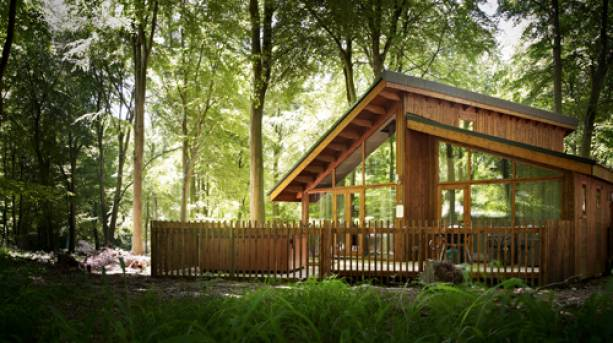 The outside of a luxury cabin in Sherwood Forest, Nottinghamshire