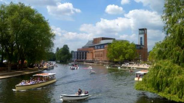 A boat saling outside the Royal-Shakespeare Theatre, Stratford-upon-Avon