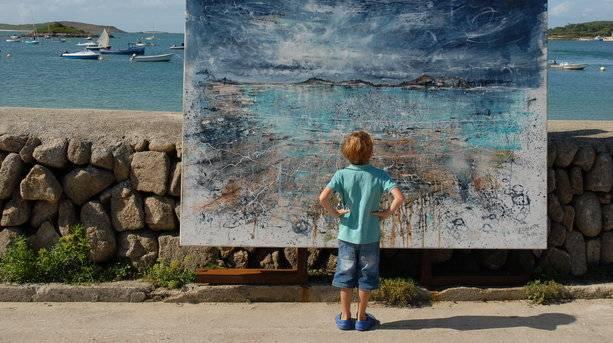 Scilly Boy Admires an Art Piece