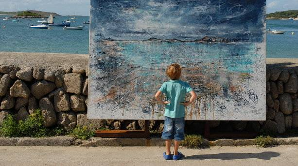 Scilly Boy Admires a Painting in the Sun