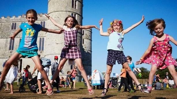 Kids Jumping at Camp Bestival