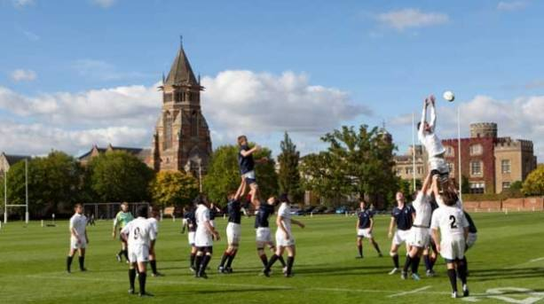 A Rugby match at Rugby School, Warwickshire