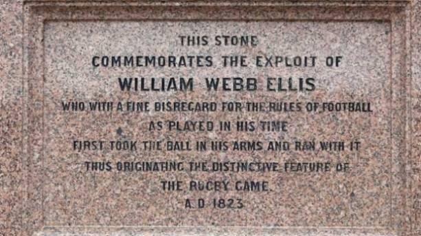 A plaque commemorating William Webb Ellis