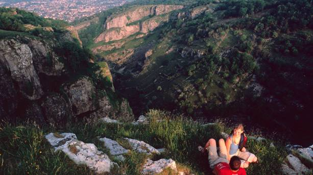 A couple on Cheddar Gorge