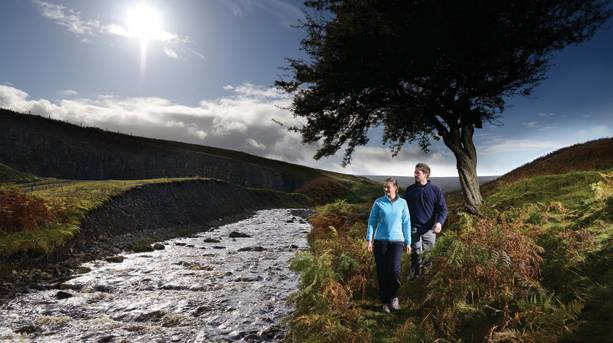 A couple walking in the Durham Dales
