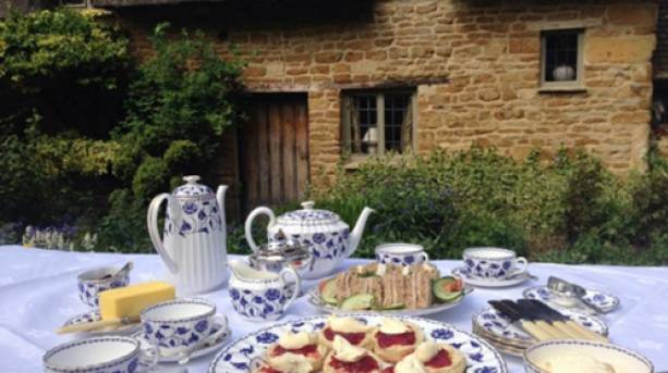 Cream tea in the Secret Cottage garden