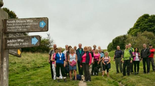 Brewery Tour walkers set off on the South Downs Way