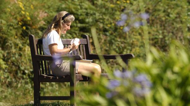 A lady sat on a bench