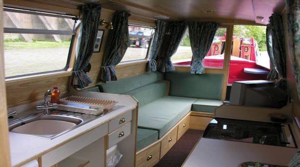 Inside a narrow boat