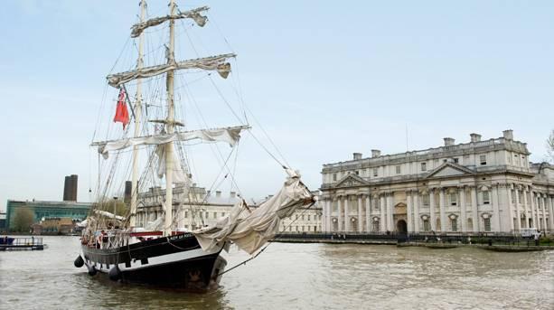 Ship sailing through Greenwich