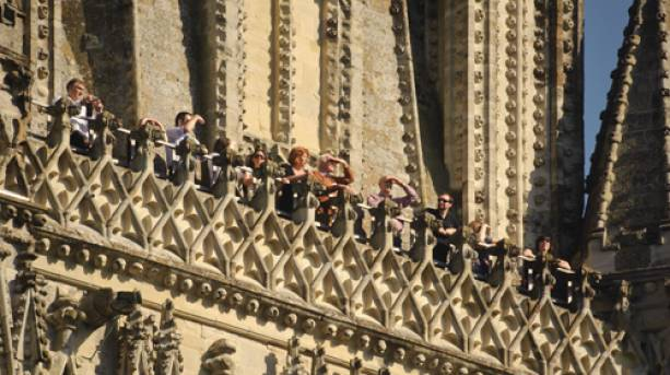 People enjoying the view at the top of Salisbury Cathedral, Wiltshire