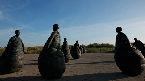 Conversation Piece sculpture on South Shields seafront.