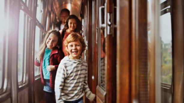 A family inside a train carriage on the Severn Valley Railway