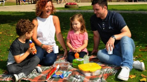 A family having a picnic at Sewerby Hall and Gardens