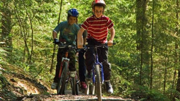 Two boys cycling in Sherwood Pines