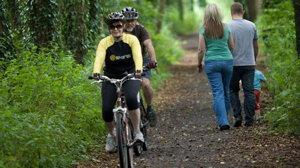 Cyclists and walkers on the Shipwrights Way