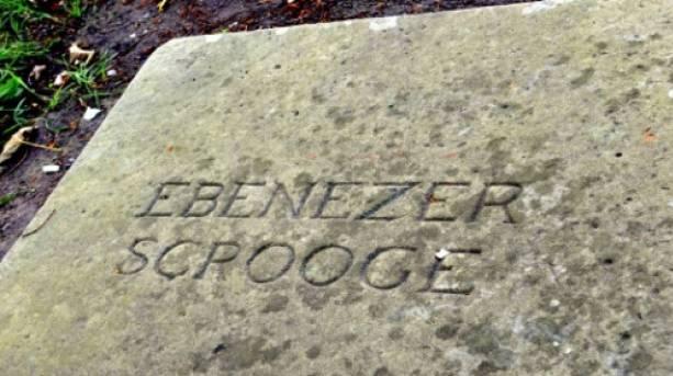 Ebeneezer Scrooge's gravestone, at St Chad's Church, Shrewsbury