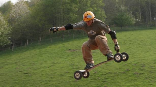 Mountain boarding at The Edge Adventure, near Much Wenlock, Shropshire