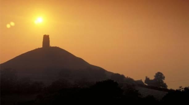 View of Glastonbury Tor at sunset
