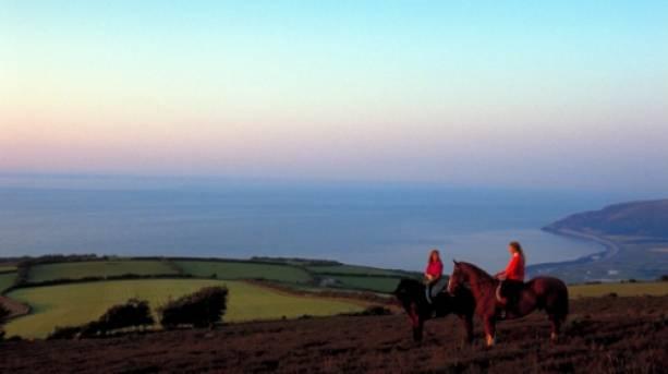 Horse riding in Porlock, Somerset.